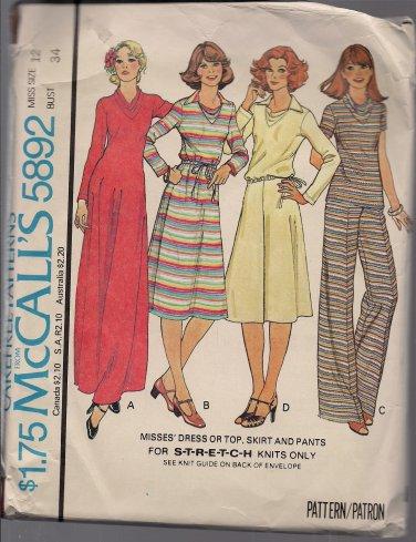 Carefree McCalls 5892 Vintage Ladies Knit Separates - Sz. 12 Dress, Top, Skirt