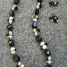 Pearl and Onyx Stone Beads Jewelry Set 53-1208