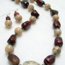 Red Spotted Jasper and Marble Agate Stone Necklace Set 29-1403