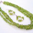 Peridot Nuggets  Tri-strand Necklace Set 006 - 1302