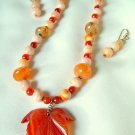 Carved Carnelian Leaf Pendant Necklace Set 182 – 312