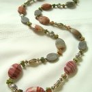 Imperial Jasper, Peridot, Pewter and Sterling Silver Necklace 293-830