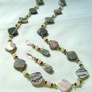 Brazilian Opal Agate, Rose Quartz, Peridot, and Garnet Necklace Set 299-1421