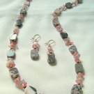 Brazilian Opal Agate, Cherry Quartz and Botswani Agate Necklace Set 300-1422