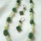 Jade and Celery Agate Necklace Set 3002