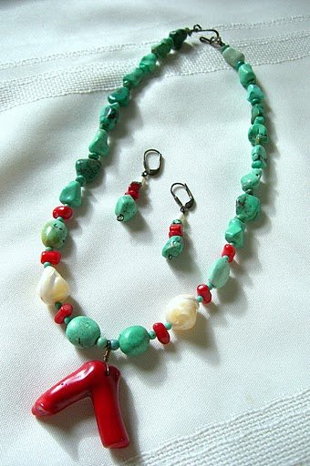 Coral Pendant with Mixed Natural and Chalk Turquoise Beaded Necklace 3007