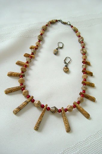 Mini-Cleopatra Collar with Picture Jasper Spike Necklace 3026