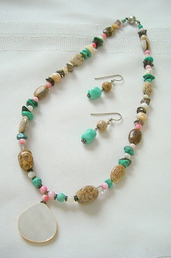 Mother-Of-Pearl Pendant,  Sponge Coral, Picture Jasper, Smoky Quartz andTurquoise Necklace set 3059
