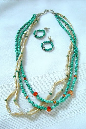 SIMPLY SUMMER Blue Turquoise, Carnelian, and Mother-Of-Pearl  Necklace Set 3106