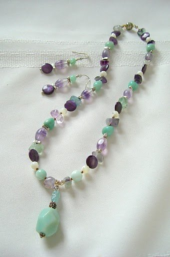 Amazonite Sterling Silver, Mother of Pearl, Fluorite and Purple Shell Coin Bead Necklace Set 3224