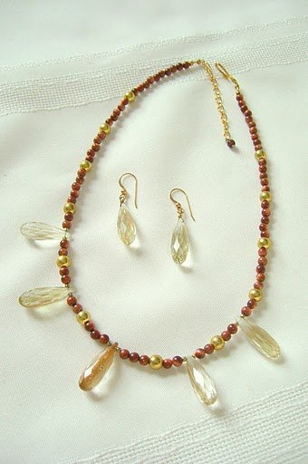 Rutilated Quartz Faceted Teardrop Pendants, Goldstone Necklace Set 3239