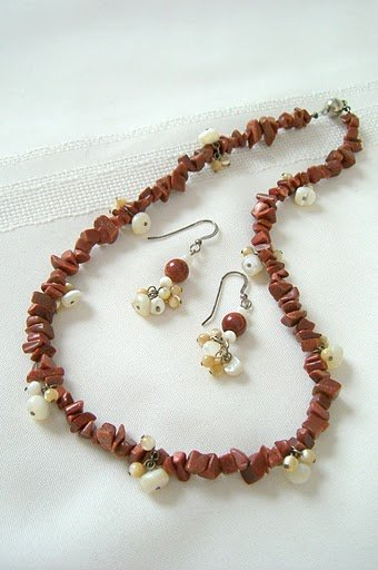 Goldstone Nuggets with Mother-Of Pearl Dangles Necklace 3289