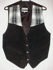 Black Suede Vest with Contrasting Trim-New