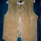 Emrboidered Tan All Suede Vest with Lacing