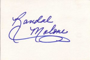 Randal Malone Autographed Index Card