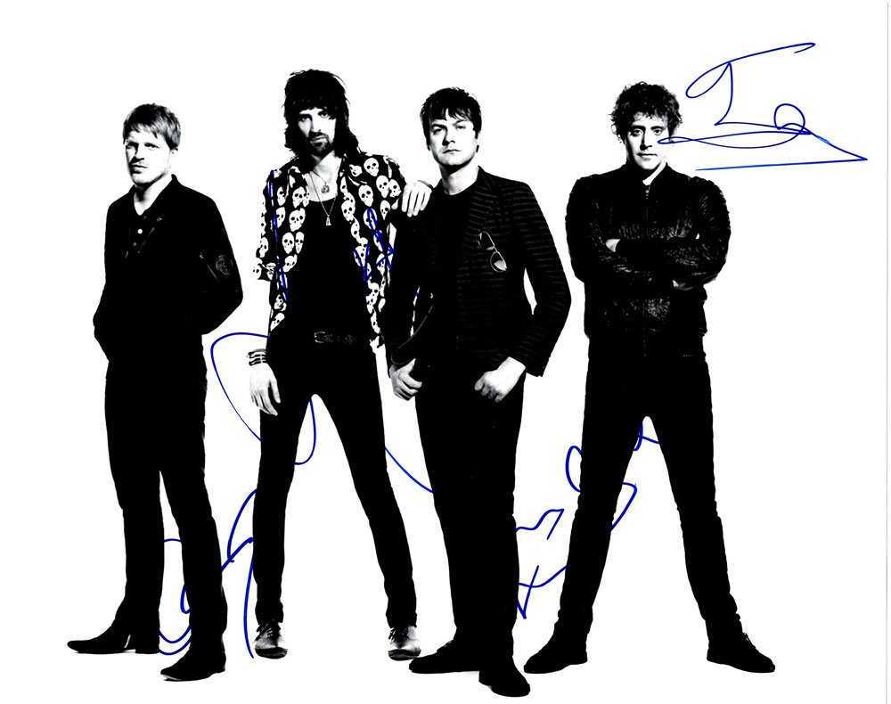 Kasabian in-person autographed 11 x 14 band photo by all 4