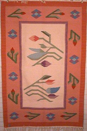 Tapestry  Alpaca Wool  Tulips  Made in Peru  Signed