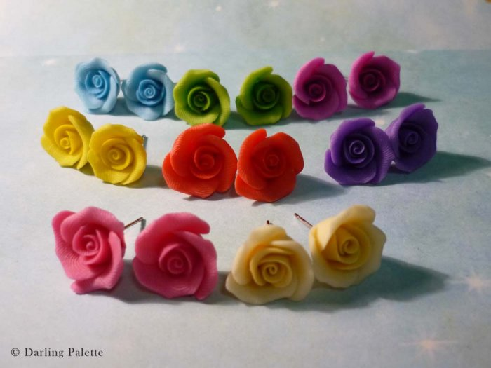 Soft Cream Rose Stud Earrings