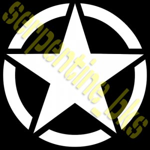 JEEP STAR DECAL CIRCLE US ARMY USMC MILITARY WILLYS 19""