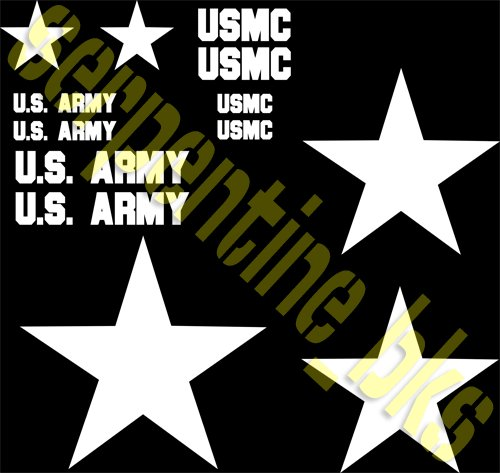 JEEP STAR DECAL KIT US ARMY USMC MILITARY WILLYS