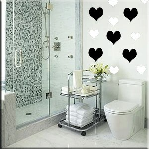 24 4 inch Hearts Vinyl Wall Decor Stickers