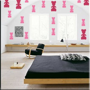 24 4 inch Teddy Bears Vinyl Wall Decor Stickers