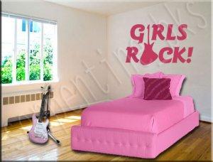 Girls Rock A Vinyl Wall Art Décor Decal Stickers Guitar