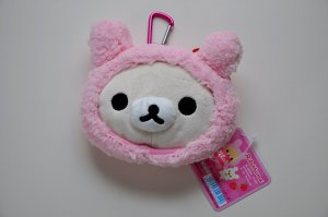 Korilakkuma Rilakkuma zippered rabbit plush coin pouch purse San-X relax bear