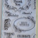 inkadinkado Expressions and Wishes 13 clear stamps 97629 birthday thank you