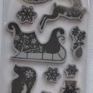 Recollections cling Christmas Stamps 12 171843 snowflakes winter sleigh reindeer snowman