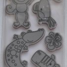 Recollections Rubber Cling Animal Stamps 8 171837 safari monkey zebra lizard crocodile baby shower