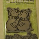 Stampendous JUMBO Snowfall Pair of snowmen repositionable cling rubber stamp winter christmas