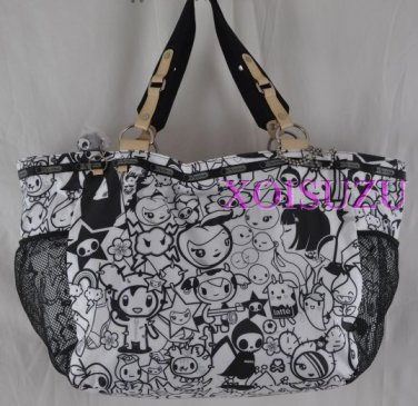NEW LeSportsac TOKIDOKI TUTTI Avventura Tote Bag purse black white x large
