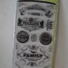 inkadinkado Vintage Expressions 15 clear stamps set Congratulations Priceless Thanks