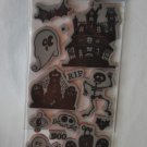 Recollections Rubber Cling Halloween Ghosts Stamp set 14 171820 Haunted house Graves Ghosts