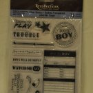 Recollections Clear Stamps - Label Me Tough - 11 stamps - baby boy shower scrapbook