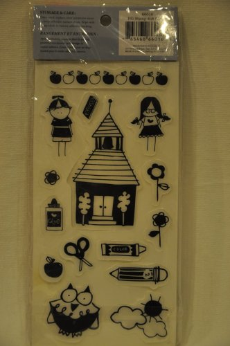 Heidi Grace 15 Rubber Cling Stamps School - crayon pencil apple flower