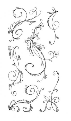 inkadinkado 97632 Sketchy Flourishes 6 clear stamp set