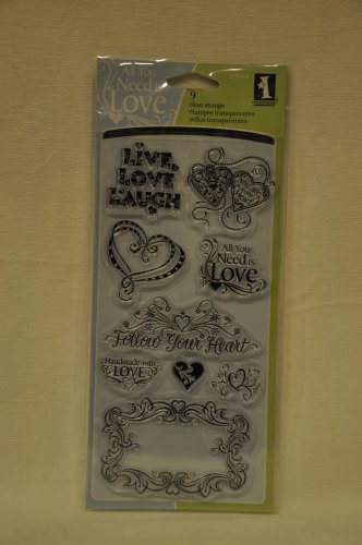 inkadinkado 99644 Love and Friendship - 9 clear stamps - valentines hearts frame
