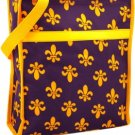 PURPLE AND GOLD FLEUR DE LIS SHOPPER