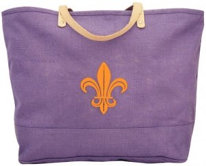 Purple and Gold Fleur de Lis Jute Tote
