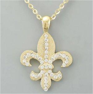 Gold Metal Fleur De Lis Necklace
