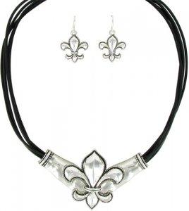 Silvertone Fleur de Lis Multi-Corded Necklace and Earring Set