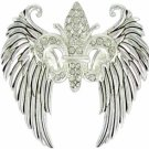 Winged Fleur de Lis Pendant with Crystal Accents
