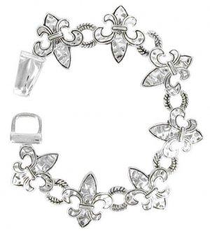 Hammered Silvertone Fleur de Lis Toggle Bracelet