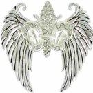 Winged Fleur de Lis Pendant with Crystal Accents