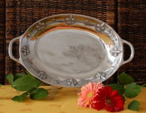 """Fleur De Lis Large Oval Vegetable Dish  Dimensions: 18.5"""" X 10.5"""" X 2.5"""""""