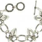 Bright Silvertone Fleur de Lis Toggle Bracelet