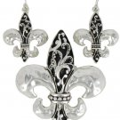 Silvertone & Jet Scroll Design Fleur de Lis Pendant and Earrings Set