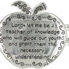 Silvertone Apple Teacher's Prayer Hinged Bangle